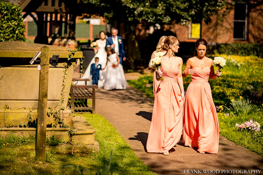 Bridesmaids entering church